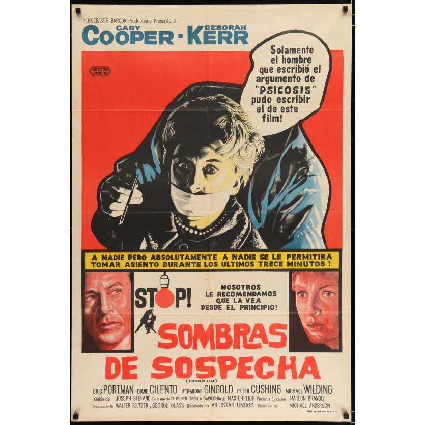 THE NAKED EDGE Argentinian Movie Poster 29x43 - 1961 - Michael Anderson, Gary Cooper