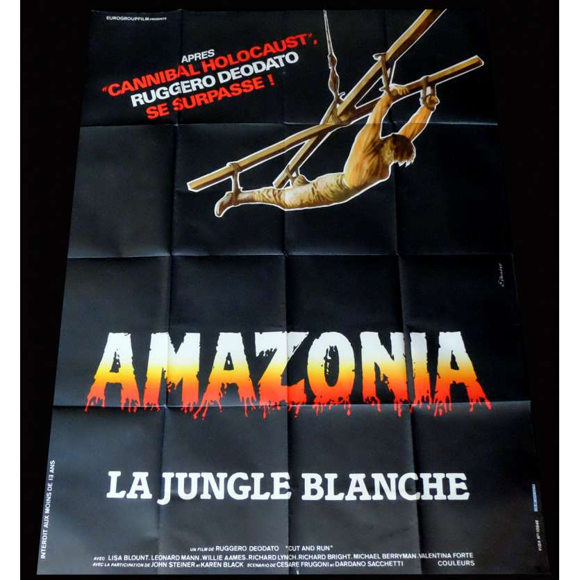 CUT AND RUN French Movie Poster 47x63 - 1985 - Ruggero Deodato, Lisa Blount
