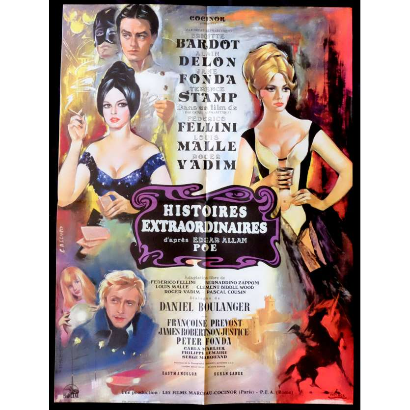 SPIRITS OF THE DEAD French Movie Poster 23x32 - 1968 - Federico Fellini, Brigitte Bardot