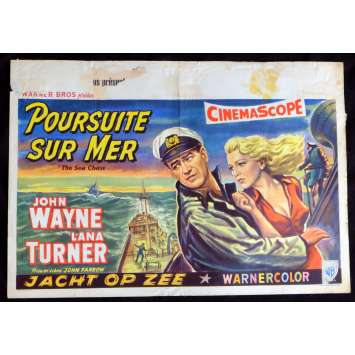 THE SEA CHASE Belgian Movie Poster 14x20 - 1955 - John Farrow, John Wayne