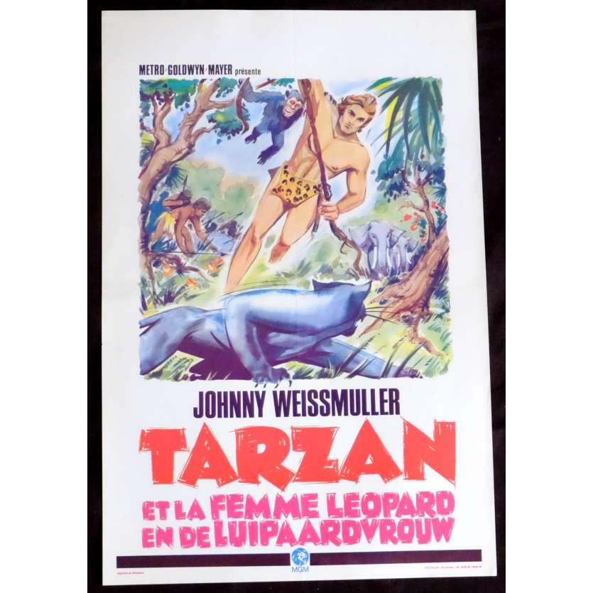 TARZAN ET LA FEMME LEOPARD Affiche de film 35x55 - R1960 - Johnny Weissmuller, Kurt Neumann
