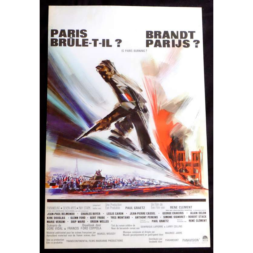 IS PARIS BURNING Belgian Movie Poster 14x20 - 1966 - René Clément, Jean-Paul Belmondo