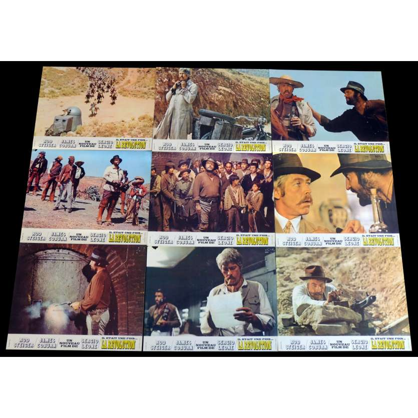 DUCK YOU SUCKER French Lobby Cards x9 - Jeu B 9x12 - 1968 - Sergio Leone, James Coburn