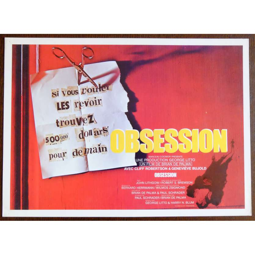 OBSESSION Flyer 21x30 - 1976 - John Lithgow, Brain de Palma