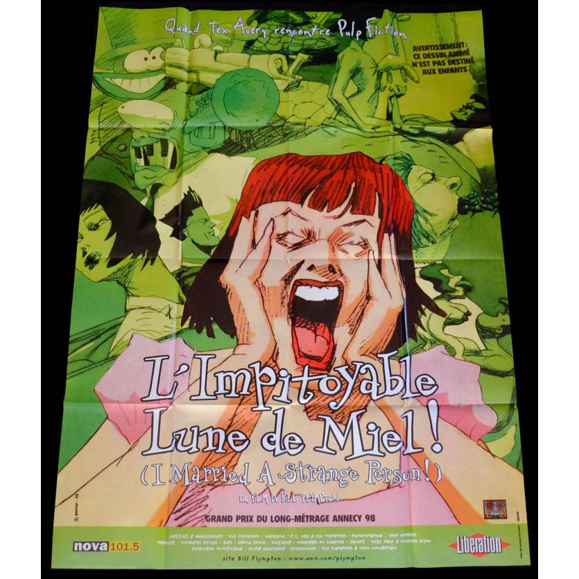 I MARRIED A STRANGE PERSON French Movie Poster 47x63 - 1997 - Bill Plympton, Charis Michelsen