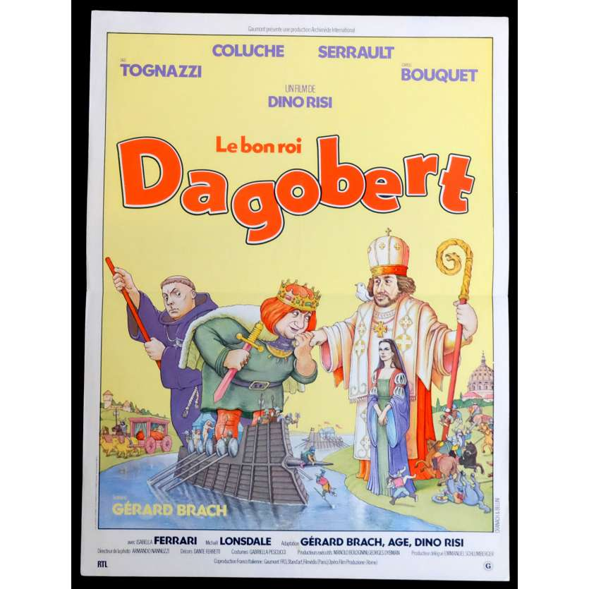 LE BON ROI DAGOBERT French Movie Poster 15x21 - 1984 - Dino Risi, Coluche