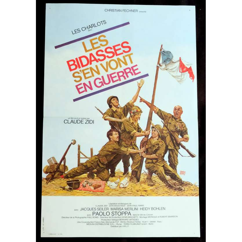 LES BIDASSES S'EN VONT EN GUERRE French Movie Poster 15x21 - 1974 - Claude Zidi, Les Charlots