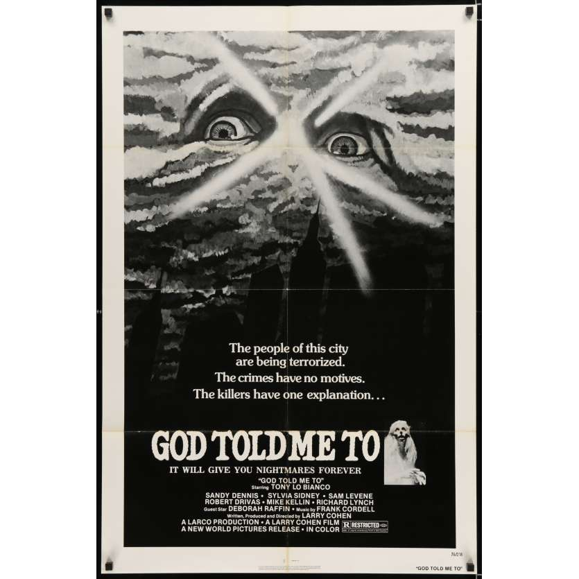 GOD TOLD ME TO Movie Poster '76 Larry Cohen directed, wild satanic sci-fi, Demon!