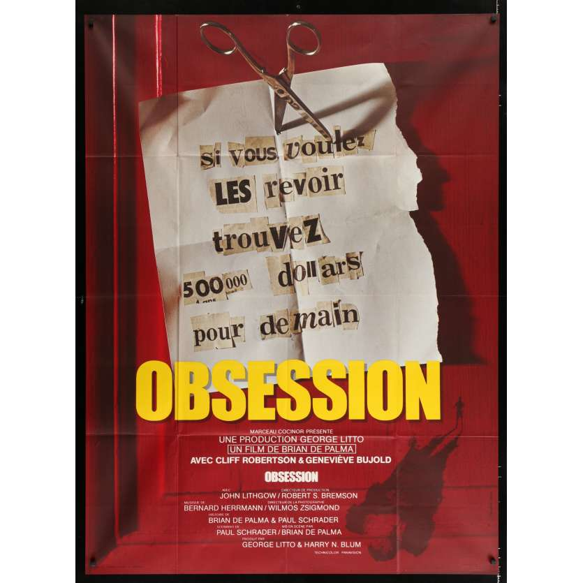OBSESSION French Movie Poster 47x63 - 1976 - Brian De Palma, Genevieve Bujold -