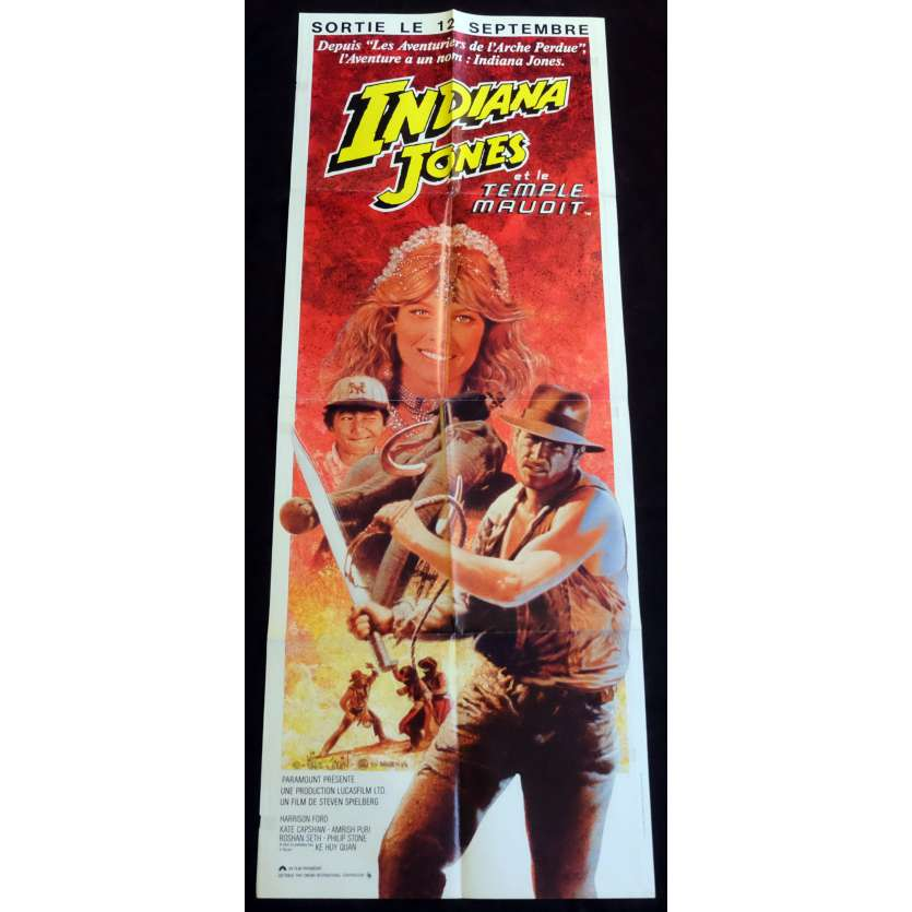 INDIANA JONES ET LE TEMPLE MAUDIT Affiche de film 60x160 - 1984 - Harrison Ford, Steven Spielberg