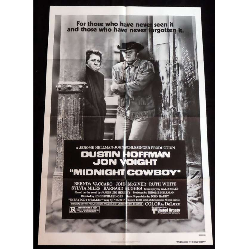 MIDNIGHT COWBOY US Movie Poster 27x41 - R1980 - John Schlesinger, Dustin Hoffman -