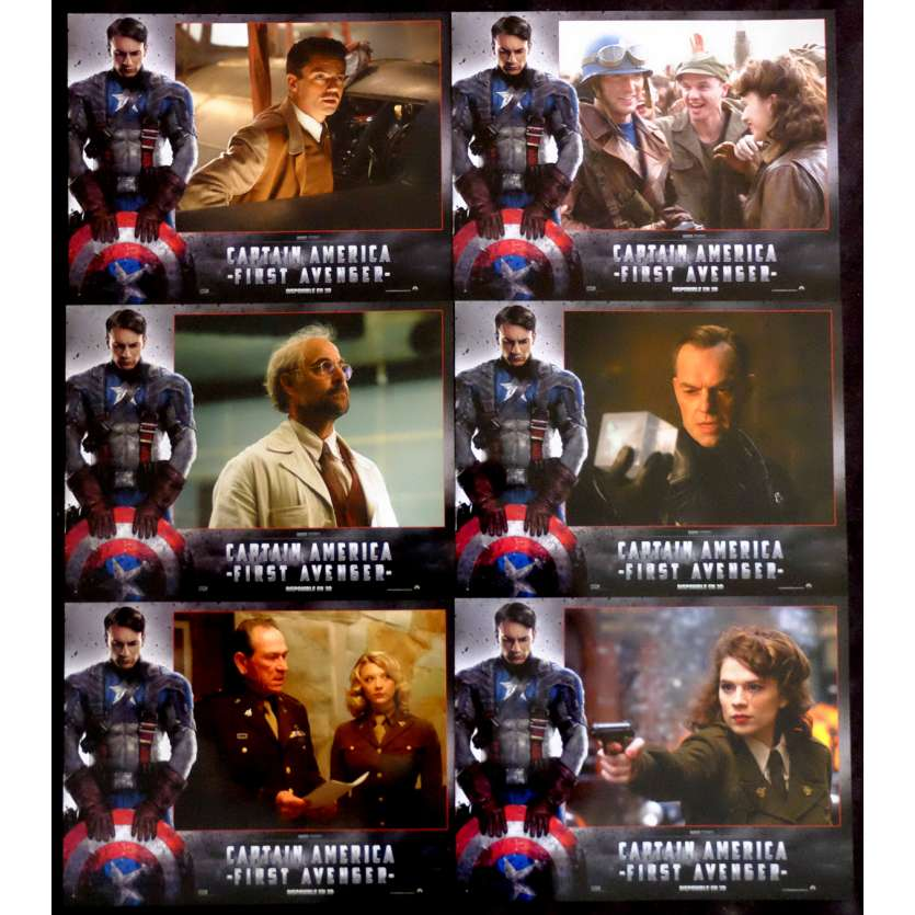 CAPTAIN AMERICA, FIRST AVENGER French Lobby Cards 9x12 - 2011 - Joe Johnston, Chris Evans