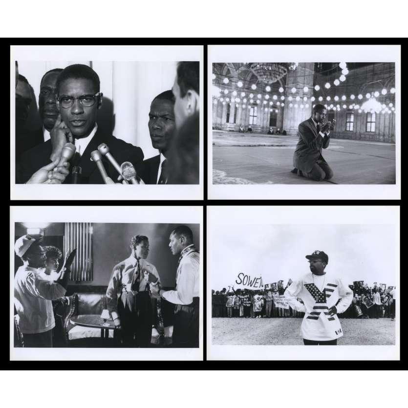 MALCOM X Photos de presse X4 20x25 - 1992 - Denzel Washington, Spike Lee