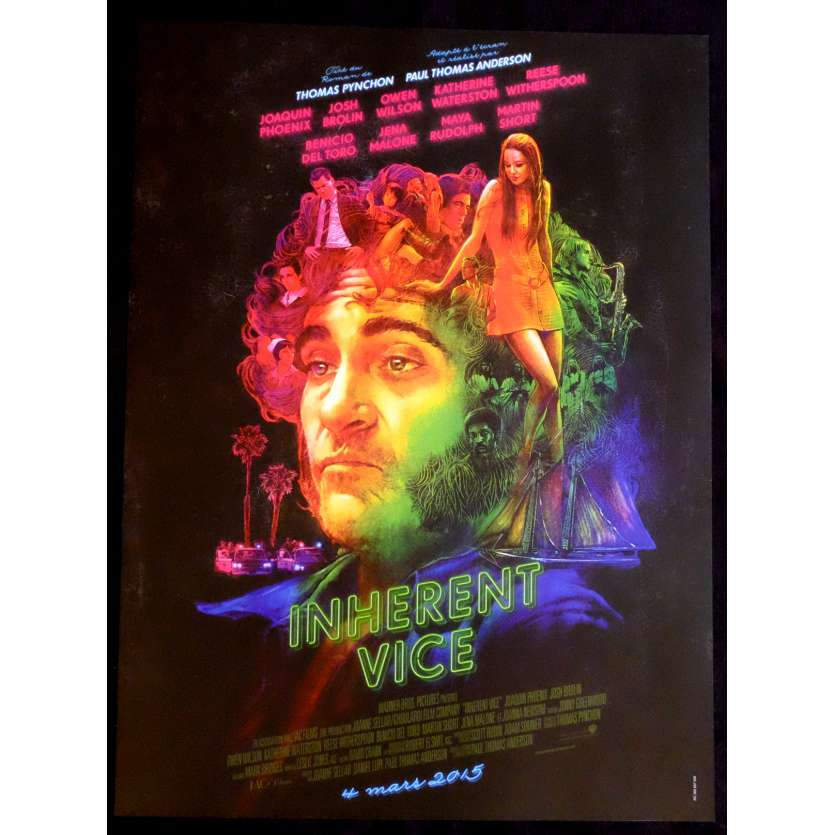 INHERENT VICE def. French Movie Poster 15x21 - 2014 - Paul Thomas Anderson, Joaquin Phoenix