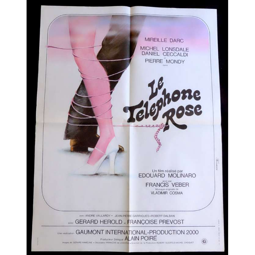 THE PINK TELEPHONE French Movie Poster 23x32 - 1975 - Edouard Molinaro, Mireille Darc