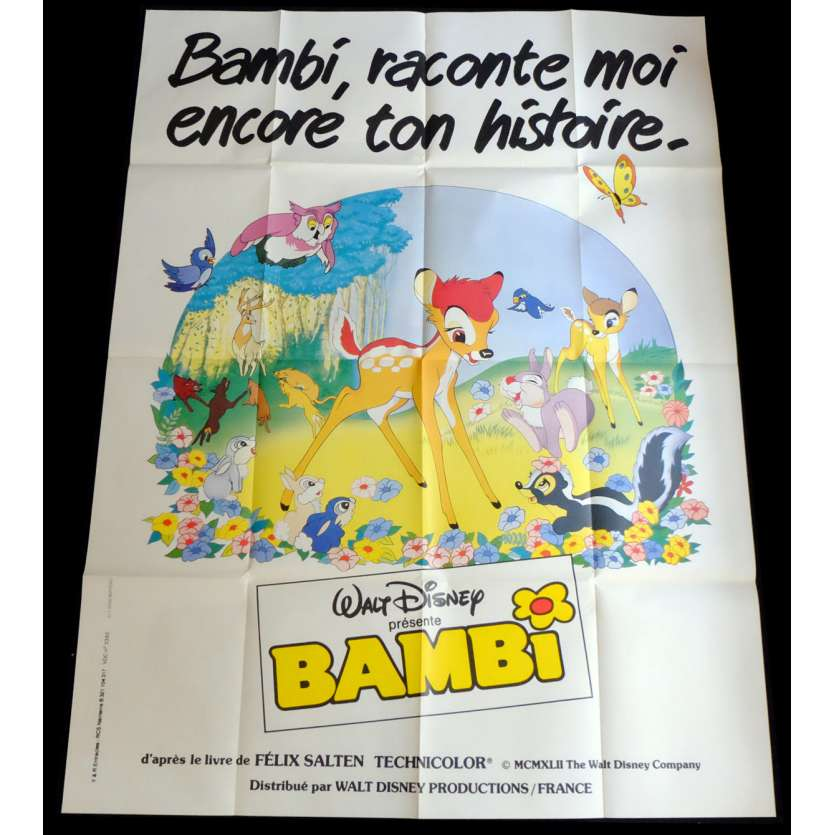 BAMBI French Movie Poster 47x63 - R1970 - Walt Disney, Hardie Albright
