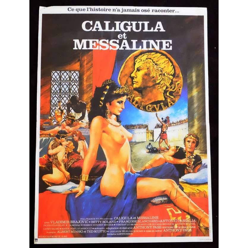 CALIGULA AND MESSALINA French Movie Poster 15x21 - 1981 - Bruno Mattei, Vladimir Brajovic