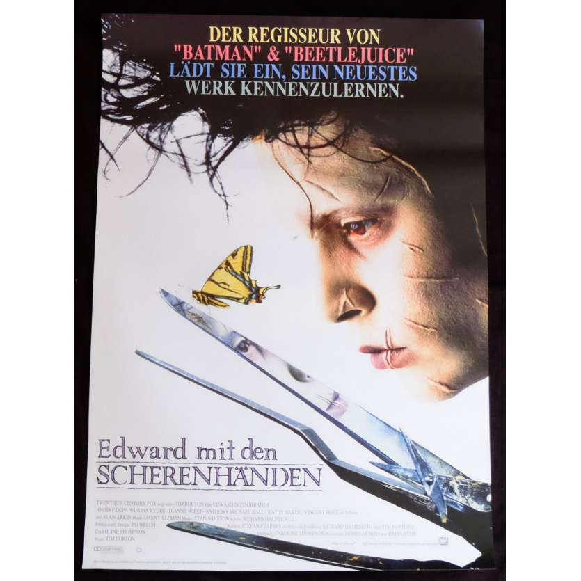 EDWARD SCISSORHANDS German Movie Poster 22x33 - 1990 - Tim Burton, Johnny Deep