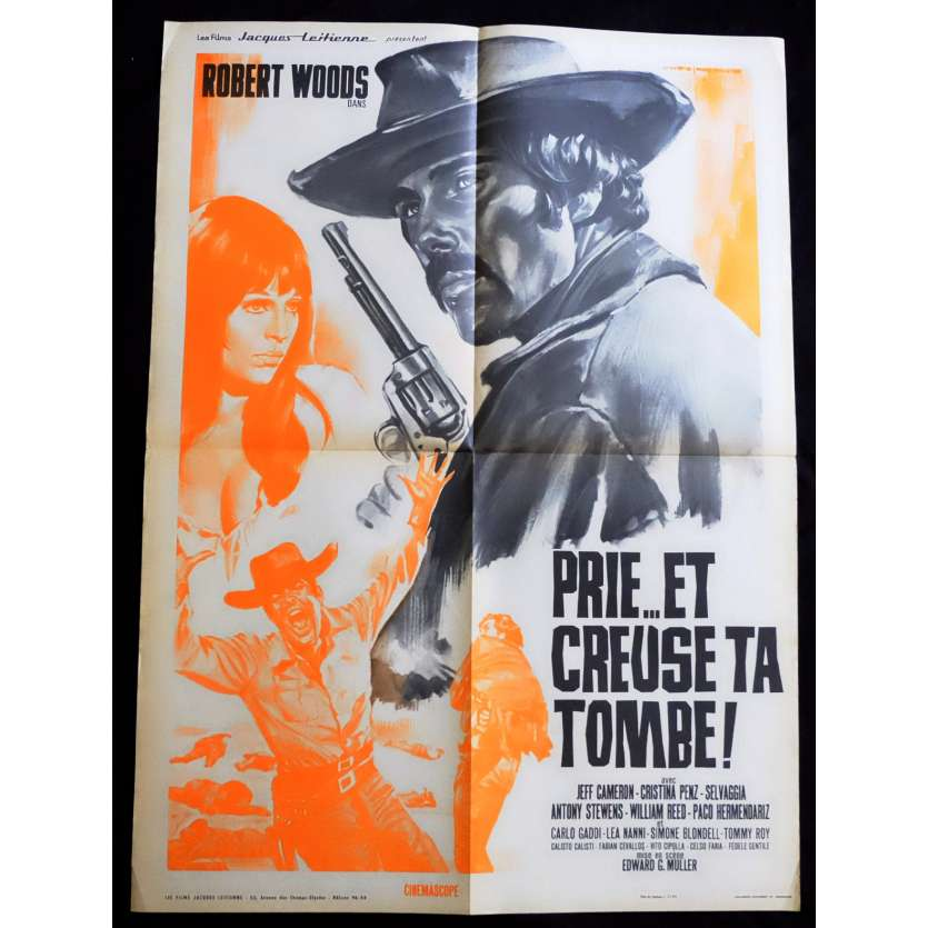 PRAY TO GOD AND DIG YOUR GRAVE French Movie Poster 23x32 - 1968 - Edoardo Mulargia, Robert Woods