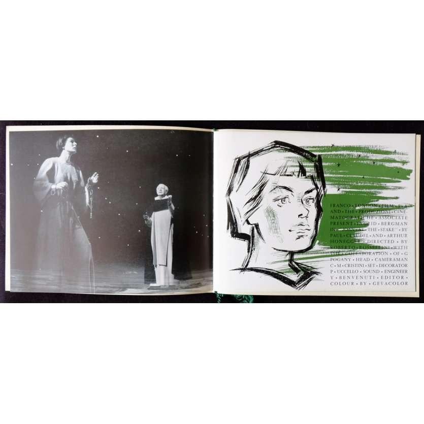JEANNE AU BUCHER Dossier de presse 8p 21x30 - 1954 - Ingrid Bergman, Roberto Rossellini