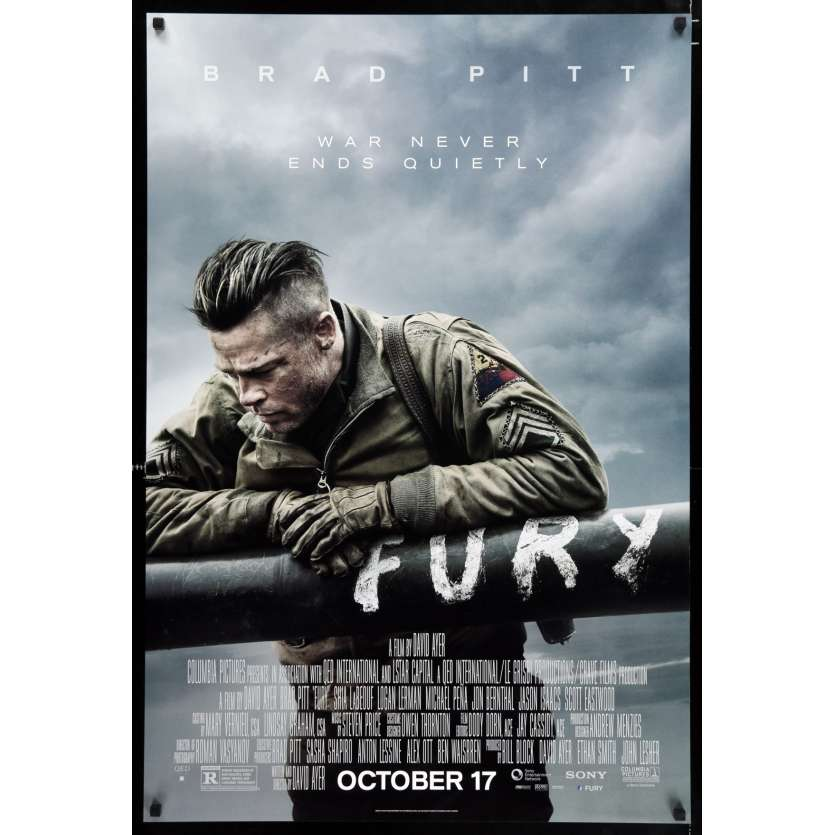 FURY Prev. Affiche de film 69x104 - 2014 - Brad Pitt, David Ayer