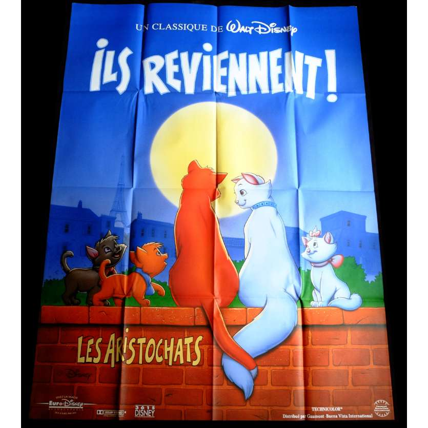 LES ARISTOCHATS Affiche de film 120x160 - R1990 - Phil Harris, Walt Disney
