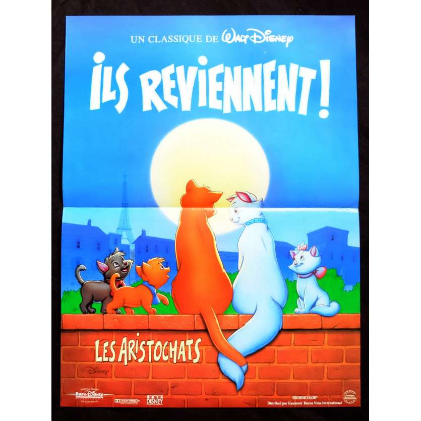 THE ARISTOCATS French Movie Poster 15x21 - R1990 - Walt Disney, Phil Harris