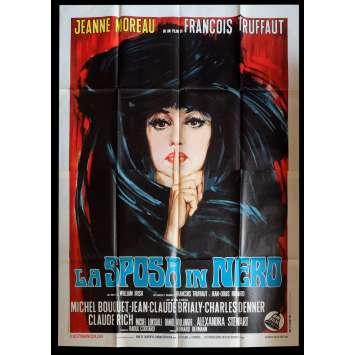 THE BRIDE WORE BLACK Italian Movie Poster 55x70 - 1968 - François Truffaut, Jeanne Moreau
