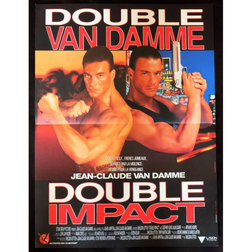 DOUBLE IMPACT French Movie Poster 15x21 - 1991 - Sheldon Lettich, Jean-Claude Van Damme