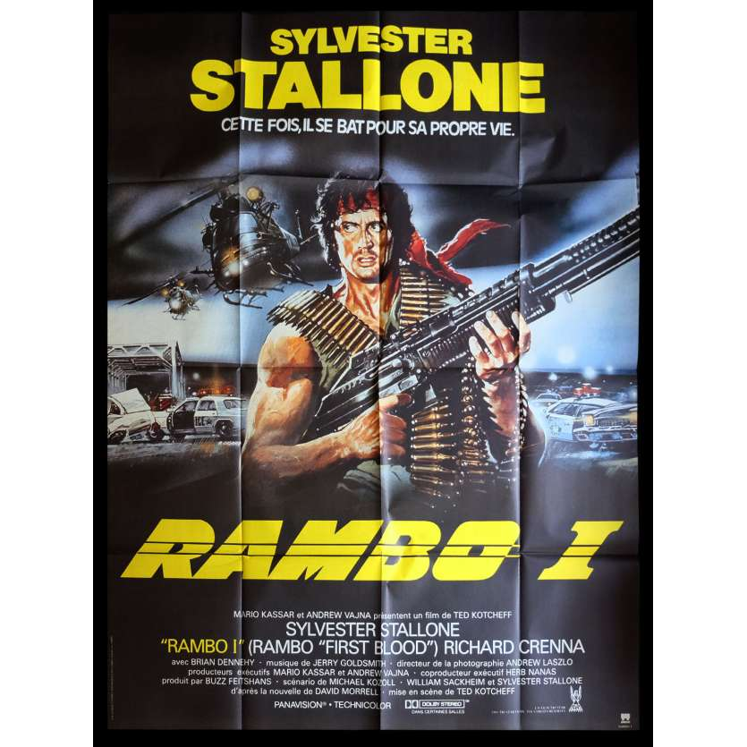 RAMBO - FIRST BLOOD French Movie Poster 47x63 - R1989 - Ted Kotcheff, Sylvester Stallone