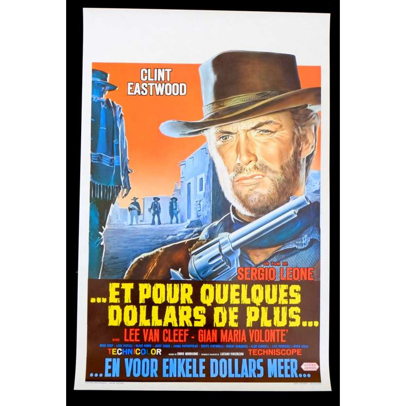 FOR A FEW DOLLARS MORE Belgian Movie Poster 14x20 - 1965 - Sergio Leone, Clint Eastwood