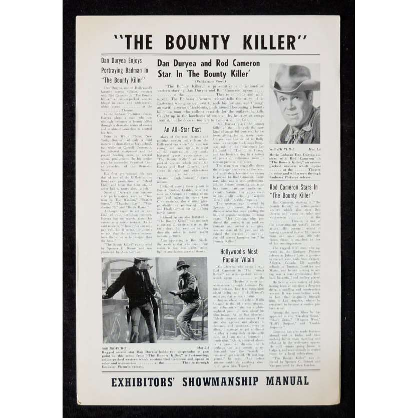 CHASSEUR DE PRIME Dossier de presse 28x43 - 1965 - Dan Duryea, Spencer G. Bennet
