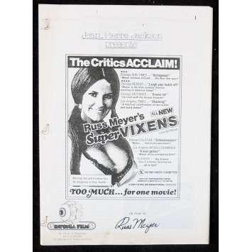 SUPERVIXENS Programme de film 21x30 - 1975 - Charles Napier, Russ Meyer