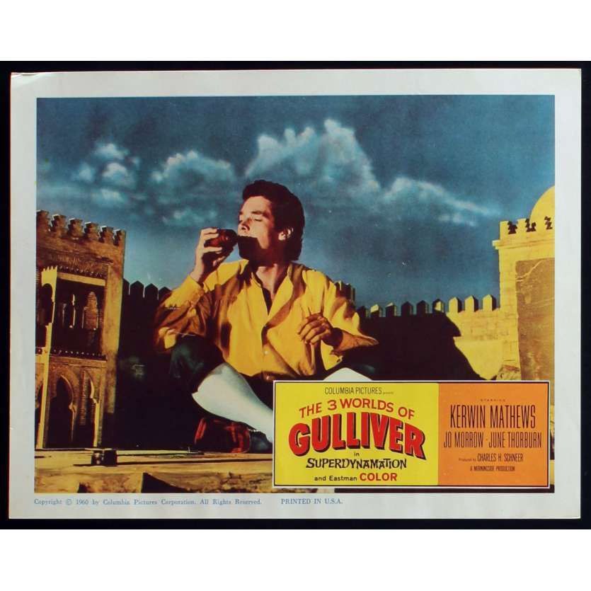 3 WORLDS OF GULLIVER US Lobby Card N1 11x14 - 1960 - Ray Harryhausen, Kerwin Mathews