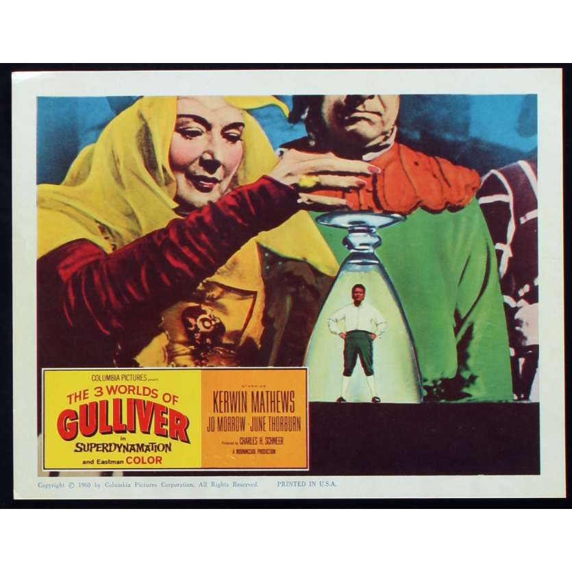 3 WORLDS OF GULLIVER US Lobby Card N2 11x14 - 1960 - Ray Harryhausen, Kerwin Mathews