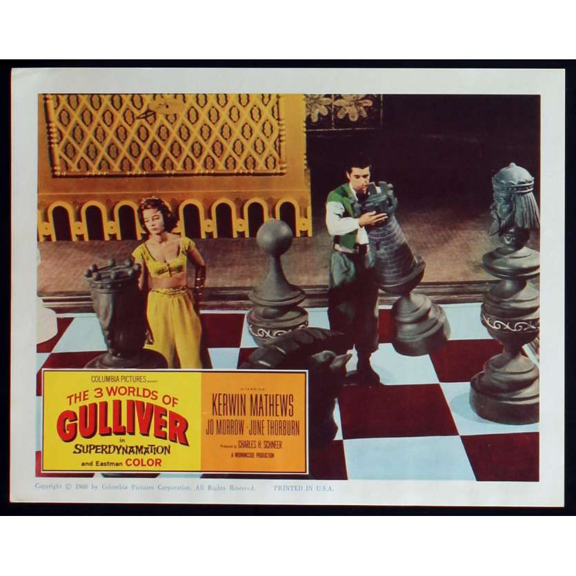 3 WORLDS OF GULLIVER US Lobby Card N3 11x14 - 1960 - Ray Harryhausen, Kerwin Mathews