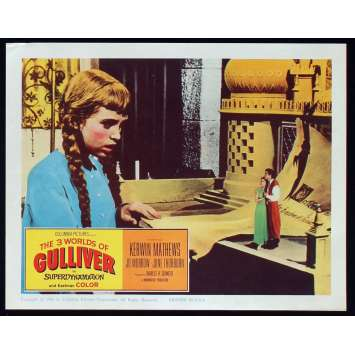 3 WORLDS OF GULLIVER US Lobby Card N4 11x14 - 1960 - Ray Harryhausen, Kerwin Mathews