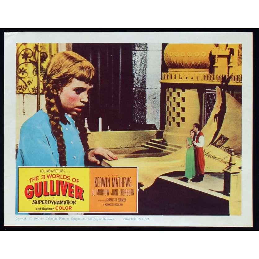 3 WORLDS OF GULLIVER US Lobby Card N4 11x14 - 1960 - Ray Harryhausen, Kerwin Mathews