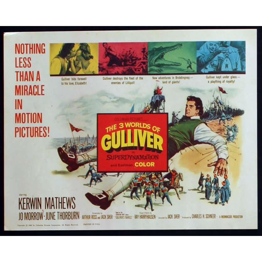 3 WORLDS OF GULLIVER US Lobby Card N5 11x14 - 1960 - Ray Harryhausen, Kerwin Mathews