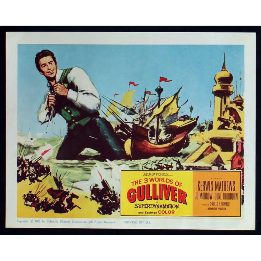 3 WORLDS OF GULLIVER US Lobby Card N7 11x14 - 1960 - Ray Harryhausen, Kerwin Mathews