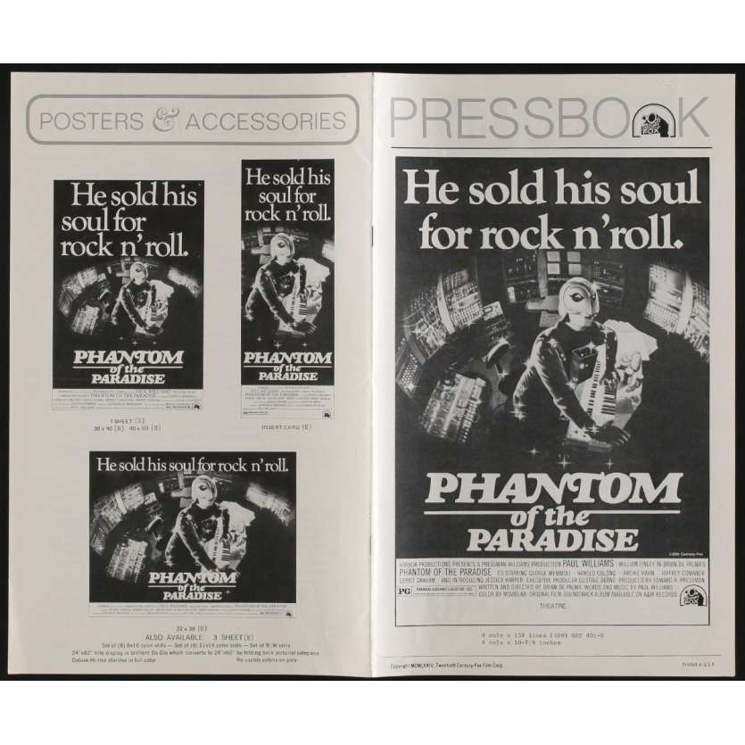 PHANTOM OF THE PARADISE Dossier de presse 15p 22x36 - 1974 - , Brian de Palma