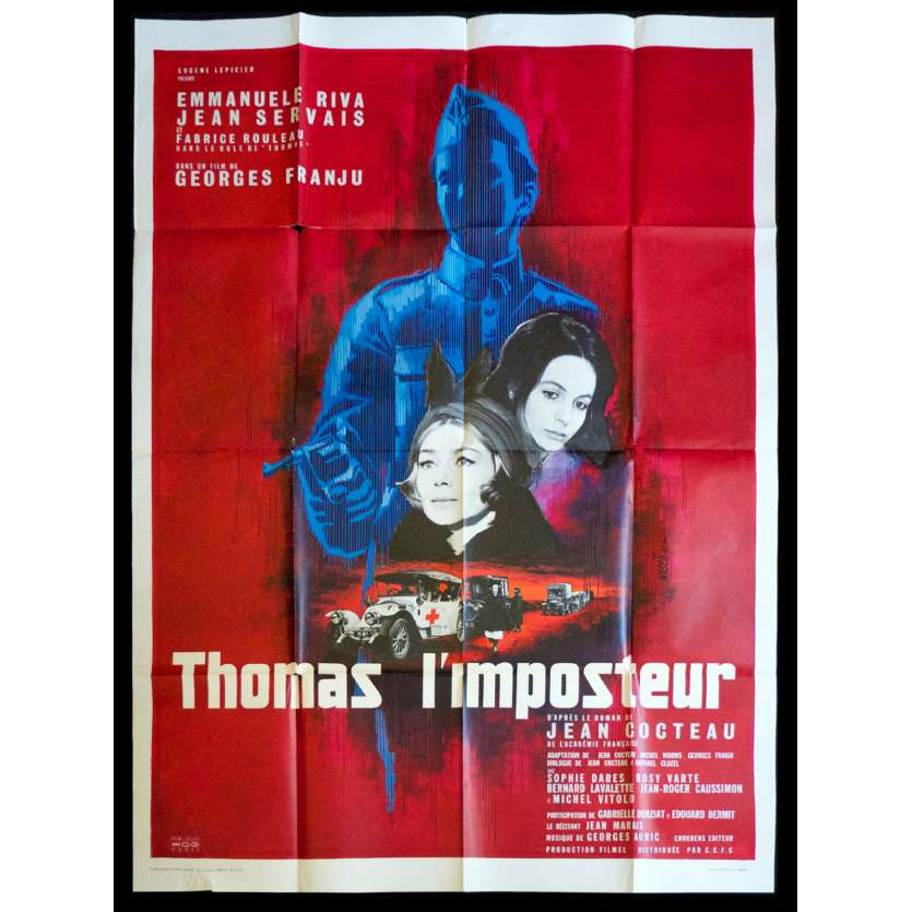 THOMAS THE IMPOSTOR French Movie Poster 47x63 - 1965 - Georges Franju, Emmanuelle Riva