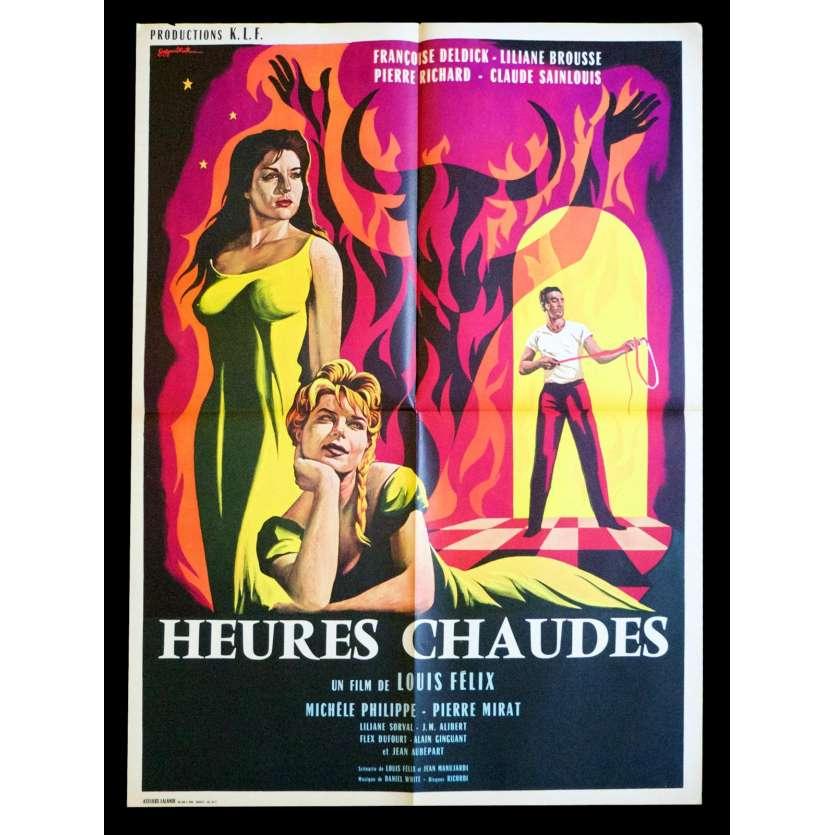 HOT HOURS French Movie Poster 23x32 - 1959 - Louis Felix, Francoise Deldick, Liliane Brousse