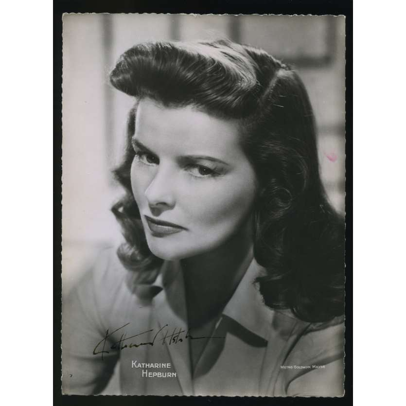 KATHARINE HEPBURN Photo Signée 16,5x22,5 - 1950's