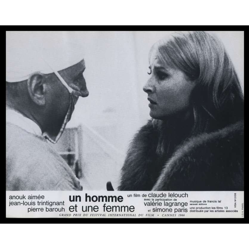 UN HOMME ET UNE FEMME Photo de film N6 21x30 - 1966 - Anouk Aymée, Claude Lelouch