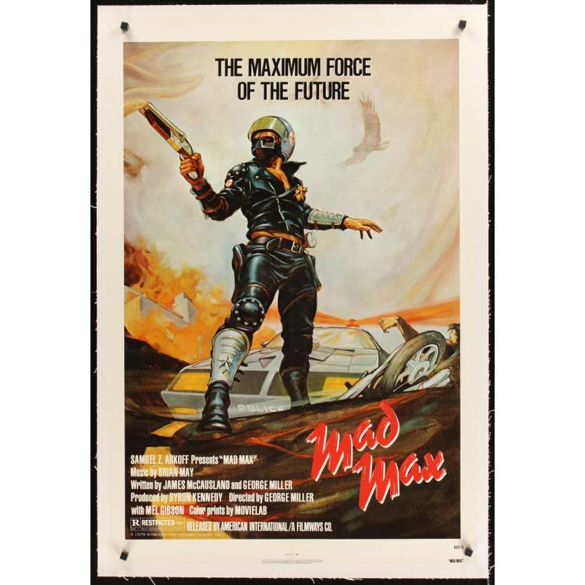 MAD MAX linen 1sh R83 art of wasteland cop Mel Gibson, George Miller Australian classic!