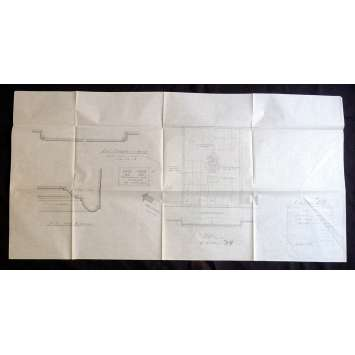 TORN CURTAIN US Architectural Set Drawing 41x40 - 1966 - Alfred Hitchcock, Paul Newman
