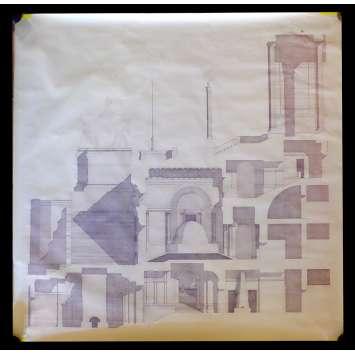 LE VENTRE DE L'ARCHITECTE Plan du film signé par Peter Greenaway 120x125 - 1987
