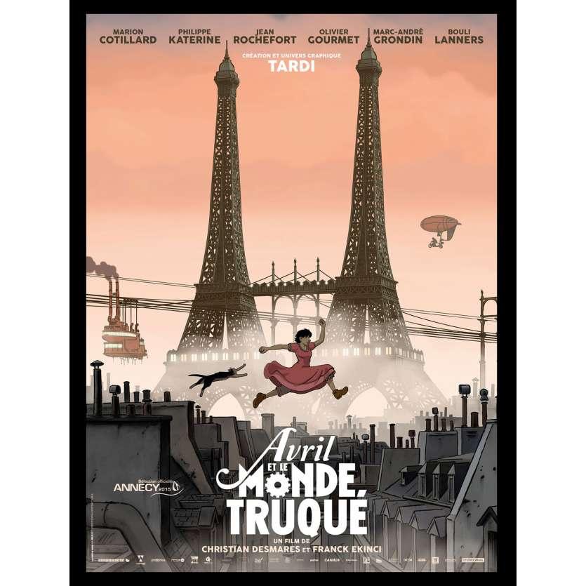 AVRIL ET LE MONDE TRUQUÉ Affiche de film 40x60 - 2015 - Marion Cotillard, Jacques Tardi