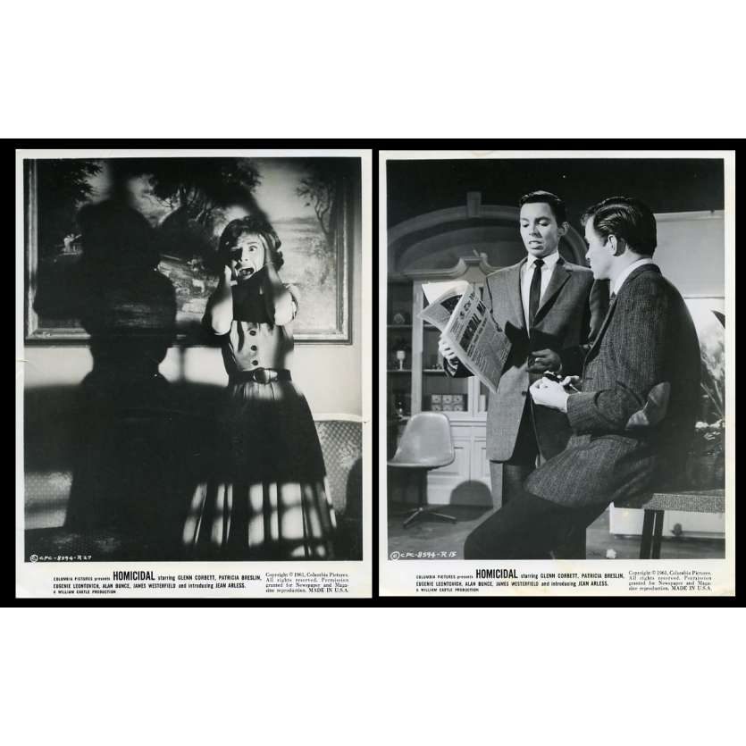 HOMICIDAL US Movie Stills x2 8X10 - 1961 - William Castle, Glen Corbett
